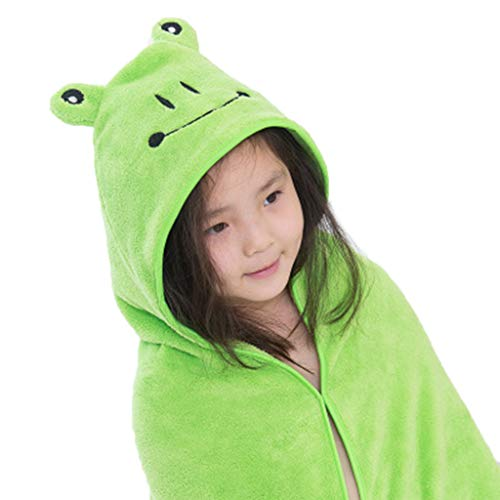 Manyo - Toalla de baño para bebé de terciopelo coral, toalla con capucha, salida de baño, pañal de baño personalizado para niños y niñas, 35,4 x 35,4 pulgadas (rana verde)