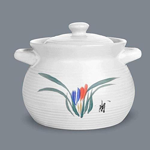 Cocottes Casserole en céramique en céramique de pot en terre cuite - Vert et sain, durable (Color : A, Size : Capacity 4.5L)