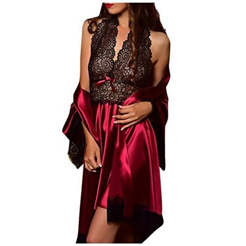 Dorical Damen 2pcs Dessous Die Seide Spitze Robe Kleid Puppe Nachthemd Nachtwäsche Kimono Einstellen Sexy Sling Nachthemd Nachtwäsche Seide Spitze Kleid Babydoll Nachthemd(Wein-3,XX-Large)