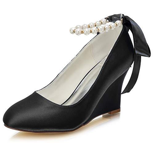 Emily Bridal Zapatos Nupciales de Novia con Cuentas de Seda cuña (EU35,...