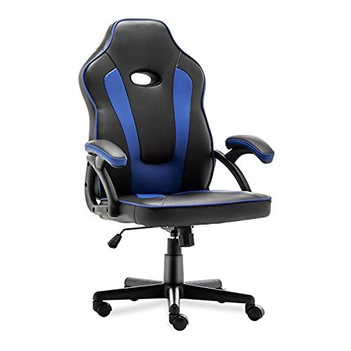 Sedia da gaming ergonomica da scrivania, sedia da ufficio, con supporto per lordosi, in pelle PU con sedia da lavoro regolabile (blu)