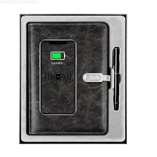 Organizer personale, cartella per conferenze, cartella di scrittura, batteria Powerbank per la ricarica telefonica, Business Notebook con 16 GB USB, funzione di registrazione Bluetooth