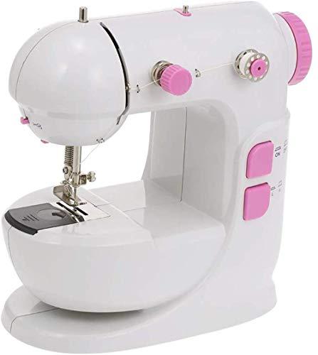 Yuaer Mini máquina de coser, máquina de coser de doble hilo de velocidad ajustable con luz LED tangente con mesa de extensión, máquina de coser con pedal, adecuada para principiantes-rosa
