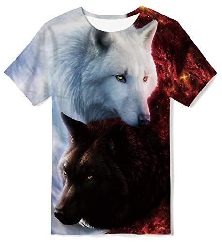 RAISEVERN Teens Halloween Skull Print Hip Pop Rock Shirt Camiseta Creativa, 14-16 años