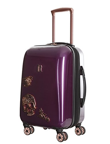 IT Luggage Candy Skull 55cm Carry-on Expandable Hardshell Four Dual Wheel Spinner Suitcase Currant