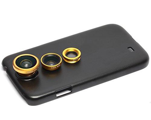 Apexel Desmontable 3 en 1 Tornillo-en Lente Gran Angular Macro Objetivo Ojo de pez con la Carcasa Trasera para Samsung i9500 Galaxy S4 de Oro
