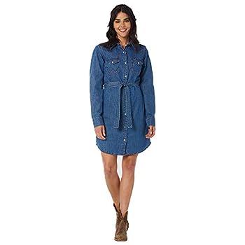 Wrangler Women s Retro Long Sleeve Western Snap Dress Mid Denim XX-Large