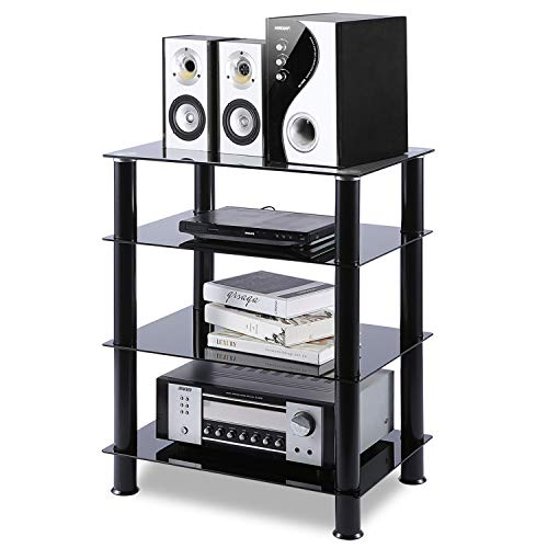 5Rcom 4 Tier Media Stand Glass AV Component Stand Stereo Cabinet Audio Video Tower Shelves Storage for Xbox,Cable Boxes, Games Consoles, Hi-fis,Black