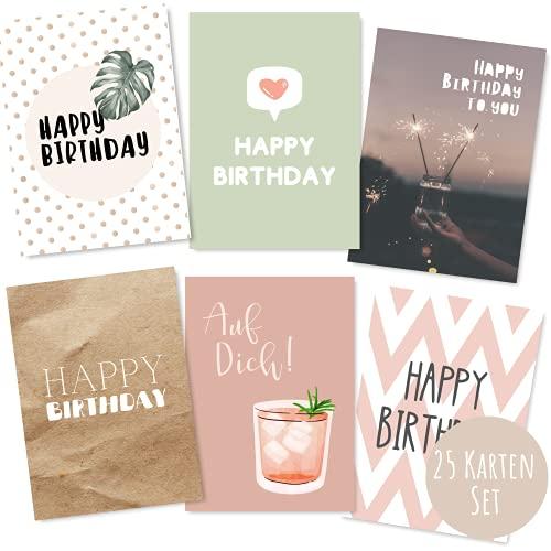 25er Set Geburtstagskarten hochwertig - Glückwunschkarte, Postkarte zum Geburtstag - Happy Birthday Karten als Postkarten Set - ideal als Grußkarte und Gutschein für Männer und Frauen