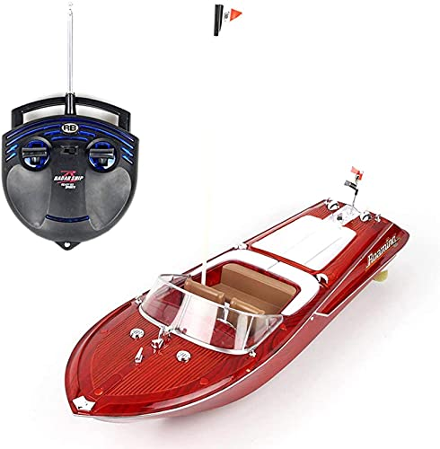 Barca RC, giocattoli telecomandati, simulazione in legno grano ad alta velocità RC barca / decorazione desktop per bambini e adulti, telecomando da 2,4 GHz, 25 km / h