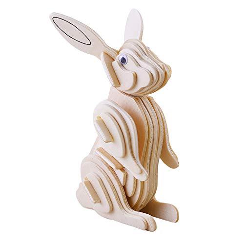 Lumanuby 1x Hase 3D Puzzle Spielzeug aus Holz Modellbau Kits Laser-Cut für Erwachsene und Kinder Tisch Deco für Hause oder Büro Geschenk für Kunsthandwerk Liebhaber Size 8.3x5.3x12.3cm