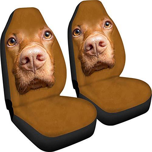 Juego de 2 piezas de fundas para asiento delantero, transpirable, universal para asiento de coche con patrón de perro caqui, fácil de instalar y limpiar, adecuado para camiones, furgonetas, SUV, etc.