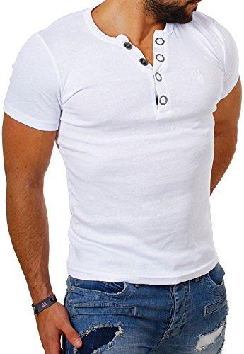 Young & Rich Herren Uni feinripp T-Shirt mit Knopfleiste & tiefem Ausschnitt deep V-Neck einfarbig Big Buttons große Knöpfe 1872, Grösse:XL;Farbe:Weiß