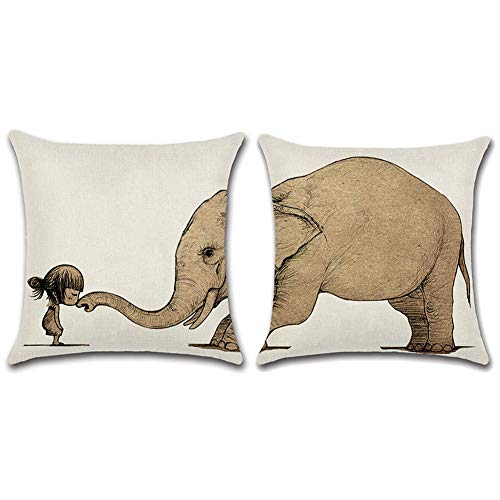 Gspirit Funda Cojines 2 Piezas Elefante y Modelo Algodón Lino Decorativo Throw Pillow Case Funda Almohada 45x45cm
