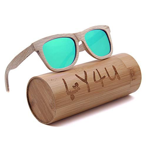 LY4U Occhiali da sole in legno per uomo e donna Occhiali vintage Occhiali da sole con lenti polarizzate galleggianti con scatola di bambù