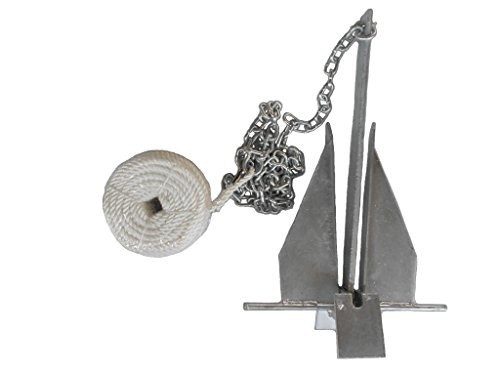 MarineNow Deluxe Portable 8.5 lb Fluke Style Anchor Kit for 15' - 24' Boat
