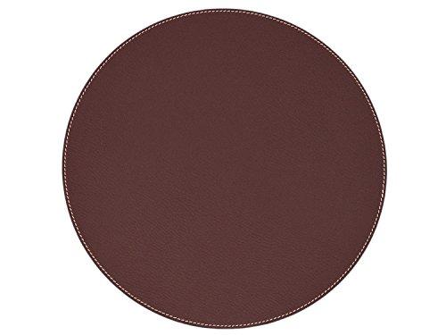 Nikalaz Set de Table Rond (1 pièce), 33 cm, en Cuir Naturel Recyclé, Décor de Table (Bordeaux Foncé)