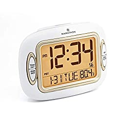 Marathon CL030051WH Atomic Alarm Clock with Auto Back Light Feature, Temperature and Date. Easy Set Buttons on Case Front. Color-White