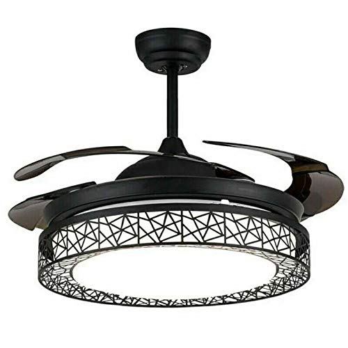 Lámpara de techo de 100 cm con lámpara LED de araña con mando a distancia + 4 aspas retráctiles