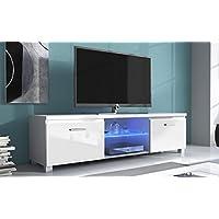 SelectionHome - Módulo salón Comedor para TV con Luces LED, Color Blanco Mate y Blanco Brillo Lacado, Medidas: 150x 40 x 42 cm de Fondo