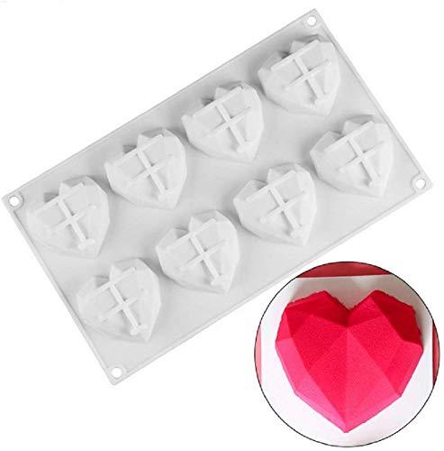G.YO Molde de postre de silicona de chocolate para mousse Helado Pasteles de gasa Molde para hornear cupcakes, 8 cavidades Diamante 3D en forma de corazón, paquete de 1