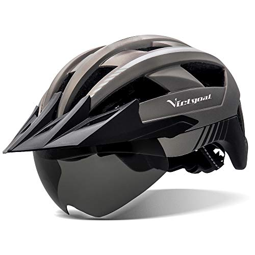 VICTGOAL Casco Bici Casco MTB Uomo con Luce LED, Occhiali Protettivi Magnetici, Visiera Traspirante, Casco da Mountain Bike per Unisex Caschi da Bicicletta Regolabili (Titanio)