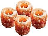 (Paquete de 4 ) Portavelas de sal 100% Auténtico cristal de sal rosa natural del Himalaya, tallado a mano Elegante Look Tea Light Holder. De primera calidad y fina calidad