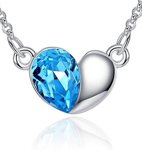 FLORAY Collana con Ciondolo di Cristallo Blu in Lega Placcata Oro Cuore per Le Donne