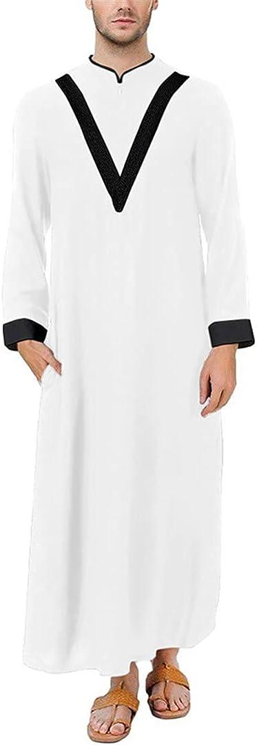 XINDSJDS Men Jubba Thobe Long Sleeve Patchwork Robes Dubai Middle East Arab Muslim Kaftan Abaya