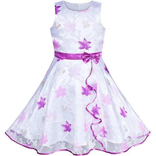 Sunny Fashion Vestido para niña Hoja de Arce Morado Boda Fiesta Cumpleaños 9-10 años