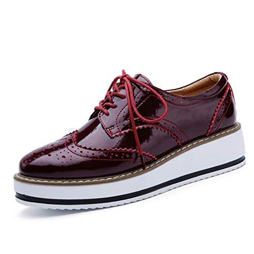 Mujer Plataforma Casual Brogue Cuero Zapatillas de Cuña Deporte Running Zapatos con Cordones Classic Sneakers Negro Blanco Beige Rojo Vino 35-42 Rojo Vino 38