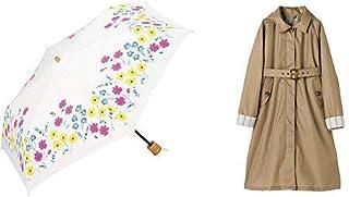 【セット買い】ワールドパーティー(Wpc.) 日傘 折りたたみ傘 白 50cm レディース 傘袋付き フラワーベッドミニ 801-5918 OF+レインコート ポンチョ レインウェア  ベージュ  free  レディース 収納袋付き R-1090 BE
