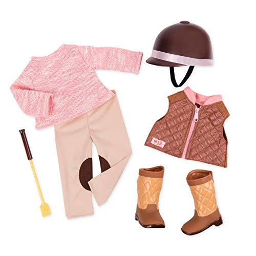 Our Generation 44748 Riding Puppenkleidung, Reiter Outfit, Deluxe Stiefel, Helm, Gerte, Hose, Pullover und Weste, bunt