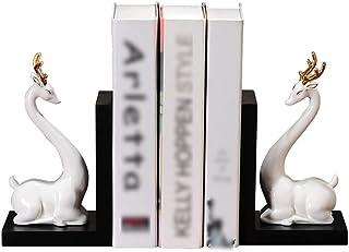 غلاف كتب مزخرف من السيراميك على شكل غزال التنين النحت قاعدة خشبية غلاف ديكور منزلي نهايات كتب للأرفف ينتهي الكتاب لحمل الكتب