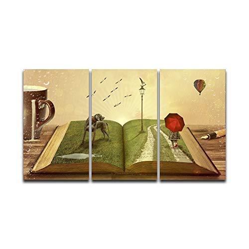 HTRHUA modulaire Hd canvas print poster klein meisje met paraplu te voet onder boeken muur canvas decoratie schilderij voor de woonkamer 50 * 70cm*3pcs Met frame.