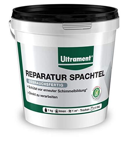 Ultrament Reparatur Spachtel | In Weiß | Perfekt für Wände und Löcher | Direkt gebrauchsfertig & Schimmelschutz 1 KG, 1kg