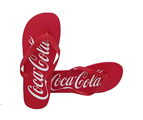 Coca Cola Originali Ciabatte Infradito Uomo Gomma Morbida AntiSudore Impermeabili per Mare Piscina Passeggio Flip Flop Estive Idea Regalo (Rosso, numeric_43)