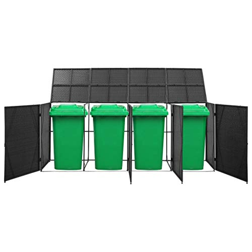Festnight Triple Wheelie Bin Shed, Storage Shed with Lifting Lids, Easy to Move, Water- and Rot-resistant Black 305x78x120 cm Poly Rattan