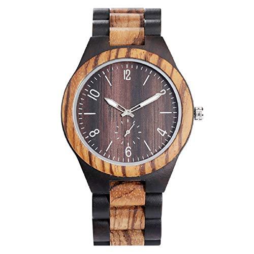LOOMUCI Reloj de Madera Reloj de Madera de Color Mixto de Madera de Cuarzo Retro para Hombre, Reloj de Banda Ajustable con Esfera de Segundos Simples para Hombre, Solo Reloj