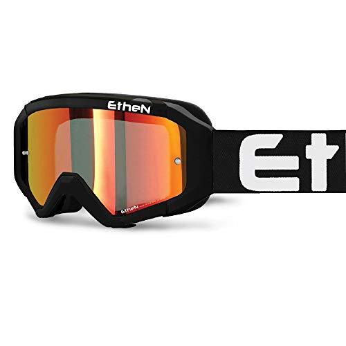 Ethen Gafas/Máscara de Ciclismo, Motocross y Enduro, Lente Cilíndrica Espejada Roja Antivaho,...