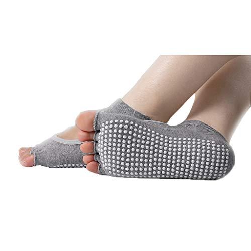 Dedo del pie con Punta Abierta Mujer Calcetines Calcetines Antideslizante Yoga Absorber el Sudor Espesar Fitness Transpirable aplicable en otoño e Invierno Mecha. (Color : Grey)