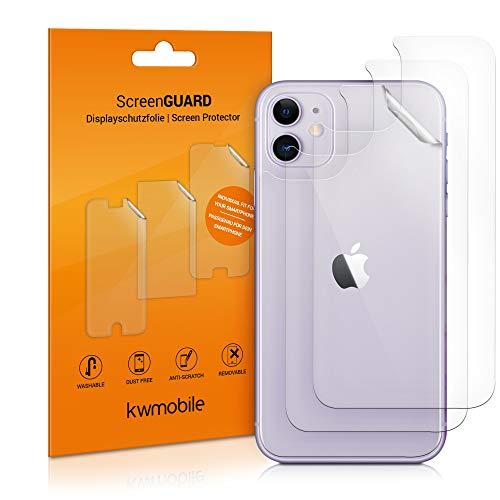 kwmobile 3X Schutzfolie Rückseite kompatibel mit Apple iPhone 12 Mini - Backcover Smartphone Folie - Handyfolie transparent