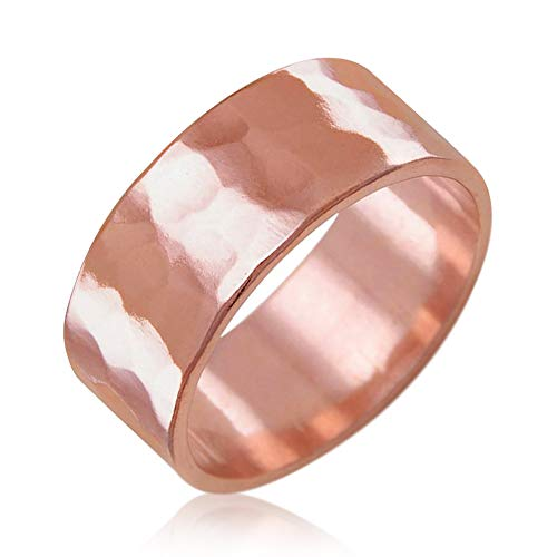 IVY & BAUBLE 100% Uncoated Solid Copper Therapy Ring Band for Men & Women, Naturally Support Immune System; Trace Mineral, Natural Relief of Arthritis; Joint Pain, Carpal Tunnel; Hammered, 8mm