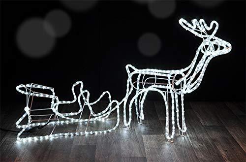 GEK XL Weihachts Silhouette Rentier mit Schlitten 145cm, 432 LED eisweiss, für Innen + Aussen