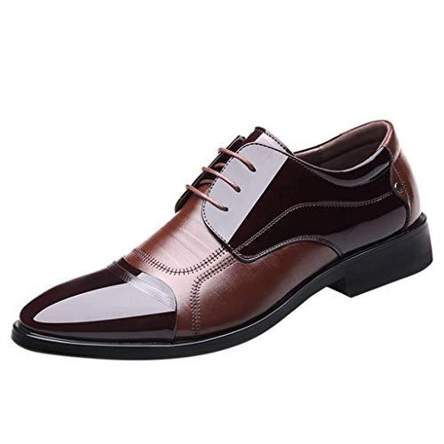 HUADUO Zapatos de Vestir Oxford - Zapatos Oxford de Vestir Perforados con Forro de Cuero Hechos a Mano para Hombres Moderno Clásico con Cordones