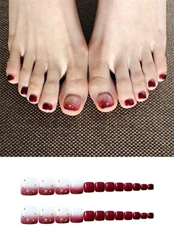 Uñas postizas para niñas Gradiente rojo transparente falso de los pies de las uñas 3D estrellas Bricolaje Diseño decorativo pegatinas de uñas prensa de punta de punta de la manicura francesa(24 piezas