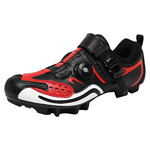 XTZLTY Herren Radfahrenschuhe, Atmungsaktive Fahrradschuh SPD-Spin-Schuhe Mit Kompatiblen Cleat Mountainbike-Schuhen Für Den Innenreiten,Rot,43