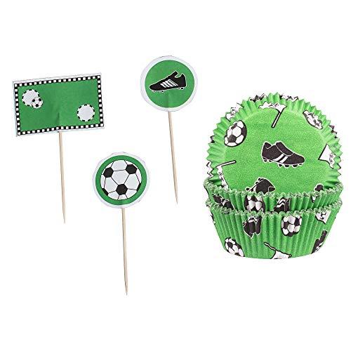 Demmler 60 Muffinförmchen - Papierförmchen - Cupcakeförmchen mit 12 Deko-Pickern - Motiv Fußball - Made in Germany