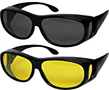 Fit Over Sunglasses Polarized Lens Wear, Set of Smoke and Night Lens, Size 62Mm