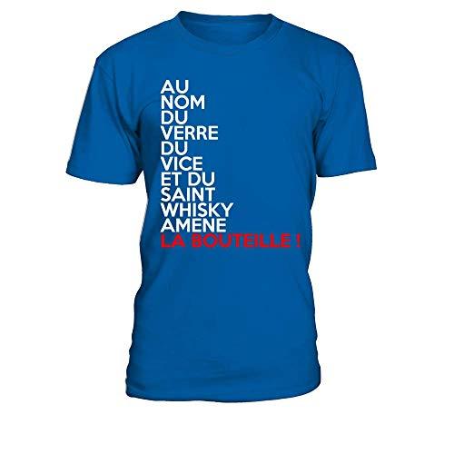 TEEZILY T-Shirt Homme Au nom du Verre, du Vice et Saint Whisky, amène la Bouteille - Bleu Royal - XXL
